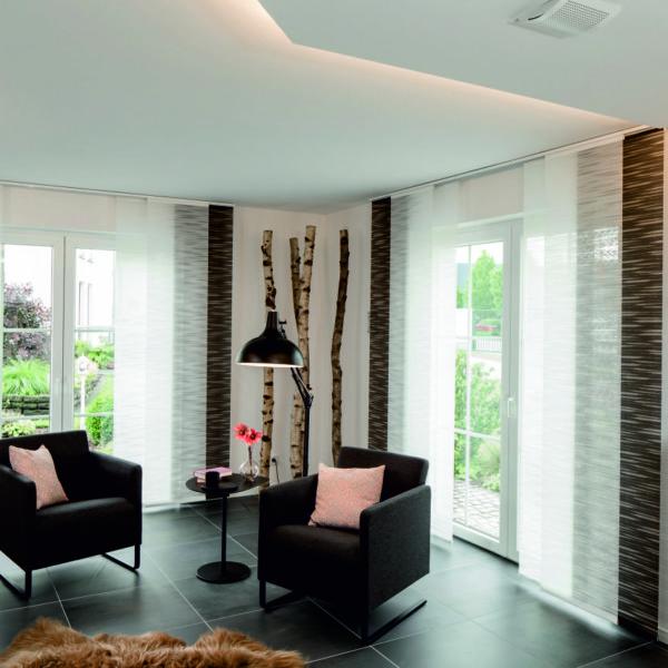 Teba Flächenvorhang Modell: Düsseldorf Stoff: braun-weiß 2784-2783 im Wohnzimmer